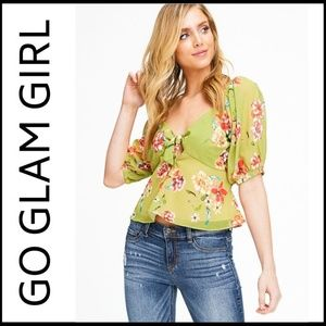 NWT Lime Green Floral Boho Crop Top
